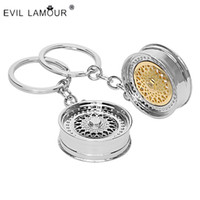 Wholesale Rims Keychain - Fashion Key ring 3D Miniature BBS Wheel Rim Model Keychain Popular Creative Car Auto Metal Mini Wheel Rim Tyre Key Chain 6C0009