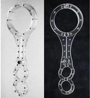 Wholesale Neck Wrist Restraint Male - New Luxury BDSM Male Female Transparent Crystal 1 Shape Cangue Round Neck Ring Oval Handcuffs Wrist Restraint Bondage Yoke Pillory sex toy