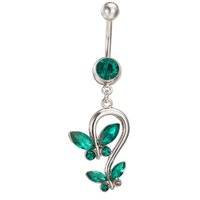 Wholesale Navel Belly Button Piercing Butterfly - Women New Style Sexy Summer Body Jewelry AAA CZ Red Blue Green Butterfly Navel Rings Bar Belly Piercing Ring Jewelry for Girls Women