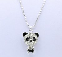 Wholesale Sweater Chain Necklaces Cheap - Cheap Price Imitation Diamond Sweater Chain Necklace Cute Zircon Panda Pendant Necklaces Jewelry For Women Gifts QW