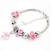 Wholesale I Love Pink Set - New Arrival Wholesale DIY Jewelry Bracelet Pink Flower I Love You Pink Crystal Heart Charm bracelets for women Valentine Day Gift Jewelry