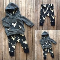 Wholesale Boys Outfits Sets - christmas suits 2016 Newborn Baby Kids Boys Girls Deer cool Hoodie Tops+Long Pant fashion Outfits baby good quality top Set 0-18M wholesale