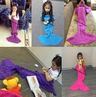 Wholesale Mermaids Tails - Kids Mermaid Blankets Knitted Mermaid Sofa Nap Blankets Children Mermaid Tail Sleeping Blanket 70*140cm D633