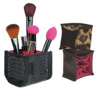 t2383 black vanity case - Black Leopard Makeup Brush set bag beautician Make up set Leather bag makeup vanity case pu cosmetic bag Cosmetic Organizer