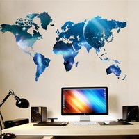 Wholesale Planets Decals - blue planet world map wall stickers living room decorations mural art home decals poster 1470.office decor