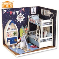 Wholesale Doll Furniture Craft - Wholesale-Home Decoration Crafts DIY Doll House Wooden Doll Houses Miniature dollhouse Furniture Kit Cute Room DIY Gift
