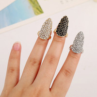Band Rings black artificial nails - Fashion European and American style Artificial Nail Cover Finger set rings Woman Luxurious Party Punk Rings jewelry Special gift for women