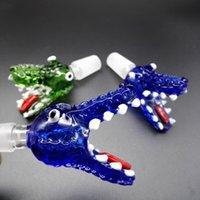huile de crocodile achat en gros de-Livraison gratuite DHL !!! Nouveaux bols en verre de tête de crocodile pour des bongs avec bleu vert 14mm 18mm bols en verre mâles pour des moulages en verre