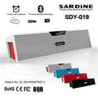 SDY-019 alto-falante Bluetooth Stereo Hifi Soundbar Sardinha Portátil Sem Fio Super Bass Altifalante com Time Display FM TF USB MP3 Music Player