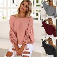 Wholesale Striped Dolman Tee - Fashion Knit Sweater Autumn And Winter New Women Knits Tees Slash Neck Tops 2017 Bat Sleeve Knits Shirt