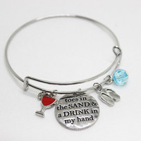 """Wholesale Christmas Drinks - 12pcs lot New arrival fashion jewelry """"Toes in the sand and drink in my hand"""" Charms pendant Bracelet for wo men or girl jewelry gift"""