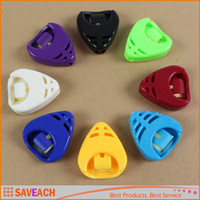 Wholesale Triangle Guitar Pick Holder - Colorful Alice Plactic Triangle Heart-shaped Guitar Pick Plectrum Holder Cases Sticky Guitar Parts & Accessories Top Quality