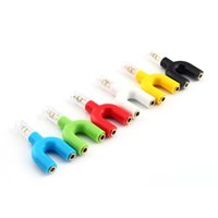 Wholesale Shaped Earphone - Wholesale-3.5mm 2 Way U Shaped Headphone Headset Earphone Audio Splitter Ideal for Sharing Music with Friends For Mobile Phone MP3 IPad