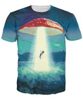 Wholesale Fashion Illustration Prints - Wholesale-Going on a Trip T-Shirt Detailed illustration Of a mushroom Abducting Another Victim 3d Print T Shirt Women Tees Tops