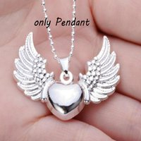 Amor 925 Sterling Silver Plated Coração Voando Angel Wing Charm Pendant Necklace Jóias Findings Componentes DIY