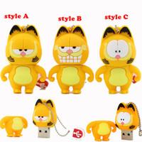 Wholesale Cat Usb Flash - Cute gift Garfield cat pendrive usb flash drive 16GB usb Sticks 4GB 8GB 16GB 32GB 64GB 128GB 100% New