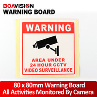Wholesale Sticker Security - 20Pcs Size 80*80MM Decal Sticker Warning Board 24HR CCTV Camera Surveillance Security Camera Sticker Warning Decal Signs