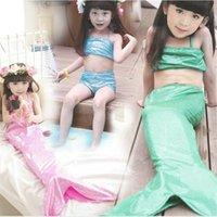 Wholesale Toddler Girl Wearing Swimsuit - Mermaid Swimwear 2016 Girls Swim wear Kids Bikini Three pieces Swimsuit Swimming suit Baby Bathing suit Toddler Cosplay Children Gifts hot