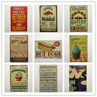 Wholesale vintage bathroom poster - Hot Dog Mobiloil Cupcake Bakery Coffee Bathroom Rules Retro rustic tin metal sign Wall Decor Vintage Tin Poster Cafe Shop Bar home decor