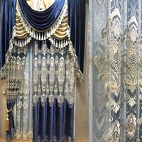 Wholesale Curtains Dining Room - Dining Room Living Room Curtain Embroidery Design Water Friednly Blackout Curtains Window Shades Blue Drapes Wholesale Per Meter #Cloth