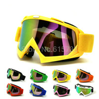 Wholesale Motocross Goggles Tinted - YELLOW Color Motocross Motorbike Cross Country Flexible Motorcycle Goggles MX Tinted UV