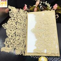 Wholesale Design Flower Wedding Cards - 18.5*12.8Cm High Quality Wedding Cards Invitation Card Wedding Invitation Flower Hollow Design Paper Caving Marriage Cards