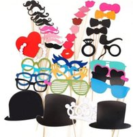 Wholesale Photo Booth Props Mustaches - Photo Booth Props Photobooth Wedding Mustaches On A Stick Wedding Birthday Party Photography Prop DIY 1 set = 44 pcs
