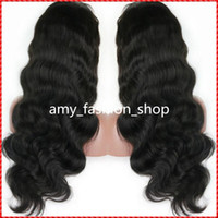Wholesale Long Half Head Wig - Brazilian full lace human hair wigs or Full Head Lace Front Wig Natural body wave wigs for beautiful women