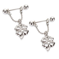 Wholesale Rhinestone Nipples - 3pairs lot 2016 sexy Newest Clover Nipple Rings Bars 14G 316L Surgical Steel With Rhinestone Sold