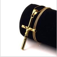 Wholesale rap necklaces - Hot Sale New Style 18k Gold Plated Fashion Hip Hop Jesus Cross Necklaces Jewelry Design Long 45CM Chains Punk Rock Rap Mens Necklace