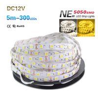 Wholesale Color Tape Rolls - 5050 SMD 60LEDS M Non-waterproof LED Strip Light DC 12V Single Color Flexible LED Tape 5m roll