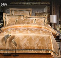 Wholesale Silk Blankets King - Luxury Golden silk bedding sets jacquard bed clothes AB side quilt blanket cover flat bed sheet envelop pillowcases hot 5651