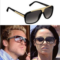 Wholesale Top Brands Fashion Logos - fashion Luxury brand evidence sunglasses retro vintage men brand designer shiny gold frame laser logo women top quality with box