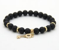 black onyx jewelry bracelets - mm Real Matte Onyx Stone Beads with Key pendant Gold Bracelets New Arrival Stone Jewelry for Party Gift