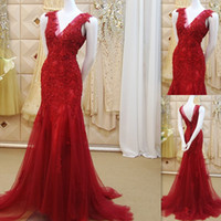 Wholesale Elegant Wear For Ladies - Dress Evening Wear 2016 Red Lace Appliques Mermaid Style Tulle With Beaded Prom Gowns Sexy V Neck Elegant Long Dresses For Ladies