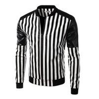 Wholesale Zebra Print Jackets - 2017 New Arrival Men Fashion Slim fit Leather Jackets Men Printed zebra-stripe Pu Jackets O Neck men leather jacket
