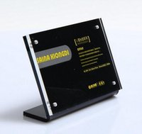 Wholesale Wholesale Advertising Menus - 10.5*7 cm transverse L black Acrylic magnetic label holder stand poster banner menu list frame advertising sign display
