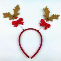 Wholesale thick headbands online - Cute Christmas Headband Hot Elk Antlers Reindeer Bell Headwear Hair Band Fashion Plush Xmas Decoration Hairbands