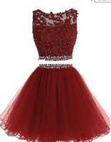 Wholesale Two Part Short Dress - 2017 Red Two Piece Organza Sexy Short Homecoming Dresses with Sequins applique Sleeveless O-Neck bodice and Keyhole Back Formal Evening Part