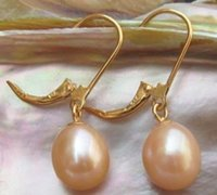 Wholesale Earrings South Sea Pearl Necklaces - GENUINE 11-13 MM AAA++ PINK SOUTH SEA PEARL EARRINGS 14K SOLID GOLD