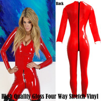 Wholesale Red Vinyl Catsuit - Wholesale-Hot Gothic Fashion Red Four Way Stretch Vinyl Overall JumpSuit Catsuit Costume Club Wear 8044