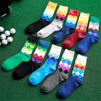 Wholesale Mens Fashion Socks Wholesale - 10 Pairs Mens Happy Socks Fashion British Colorful Plaid Socks Top Quality Absorb Sweat Sport Cotton Socks For Man Christmas Long Sock