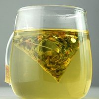 etiquetas de té al por mayor-1000 Unids / lote 5.5 * 7 cm Biodegradable No Tejido Pirámide Bolsa de Té Filtros Nylon TeaBag Con Etiqueta Bolsas de Té Vacío Transparente