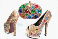 Wholesale Italian Gold Set - Gold high quality italian african shoes an purse promotion shoes matching bag set for wedding party