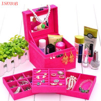 Wholesale Jewellery Ring Display Case - Ring Necklace Bracelet Profissional Jewellery Display Storage Vintage Box Case Women Organiser Fashion Cosmetic Bag