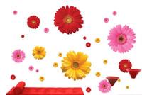 ingrosso decalcomanie da parete per mobili da cucina-10 pz / foglio 3d stereo daisy fiori adesivi murali armadio cucina frigorifero decorazione adesivi murali decorazione della casa crisantemo poster da parete