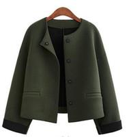 Wholesale Women Plus Size Baseball Jacket - 2017 Plus Size Leisure Baseball Jacket Women Round Collar Button Thin Bomber Jacket Long Sleeves Coat