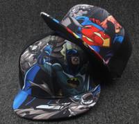 chapéus superman chapéus venda por atacado-New Kids Bonés de Beisebol Moda Superman Batman Crianças Snapback Caps Gorras Planas Meninos Hip Hop Chapéu Chapéus de Verão