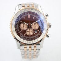 Wholesale Skeleton Watches For Mens - Hot Sale Brand mens watches Quartz Chronograph For Men Brown Dial Fluted Case Stainless Belt watch Silver Skeleton 1884 Chronometer Watch