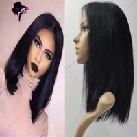 Wholesale Long Bob Wigs Bangs - Brazilian human virgin hair bob cut wigs short lace front wigs glueless full lace wig with bangs for black women